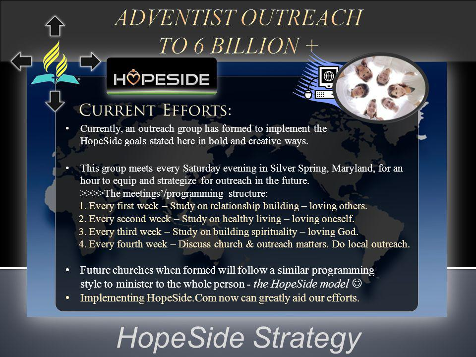 HopeSide Steering Board The steering board can consist of visionary gospel outreach personnel, Adventist businesses (e.g.