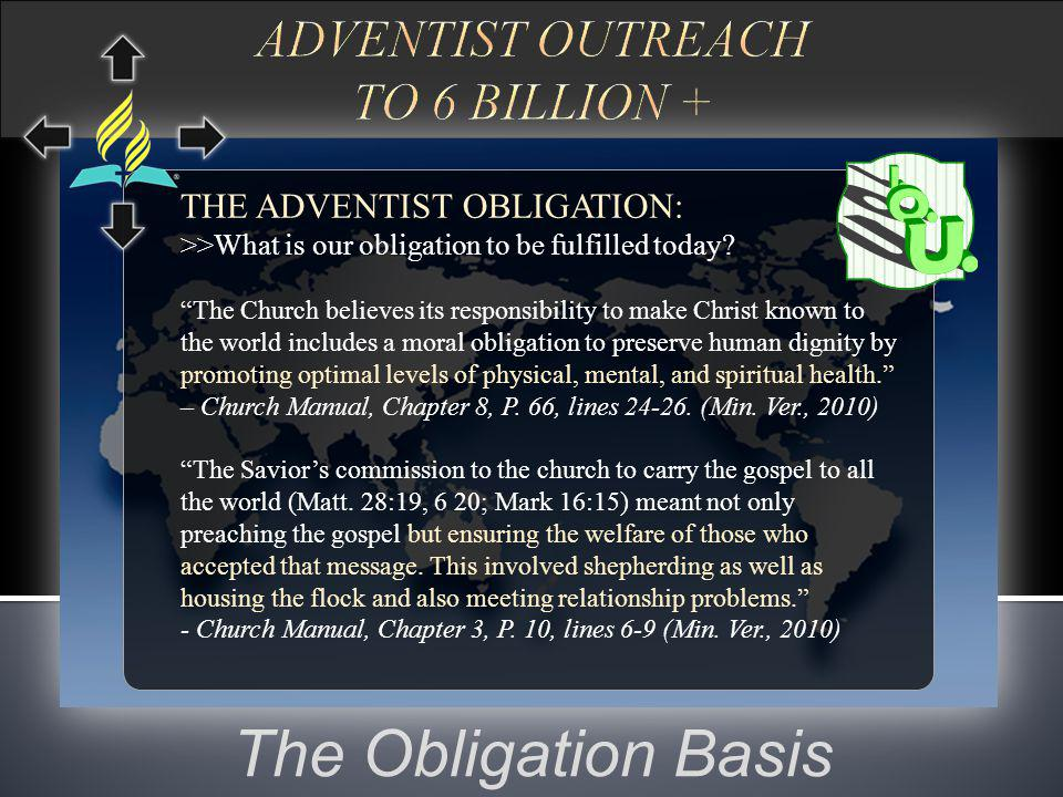 The Obligation Basis THE ADVENTIST OBLIGATION: >>What is our obligation to be fulfilled today.