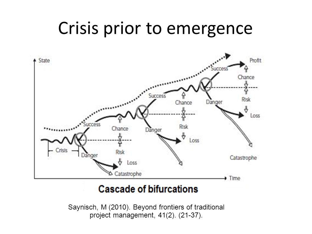 Crisis prior to emergence Saynisch, M (2010). Beyond frontiers of traditional project management, 41(2). (21-37).