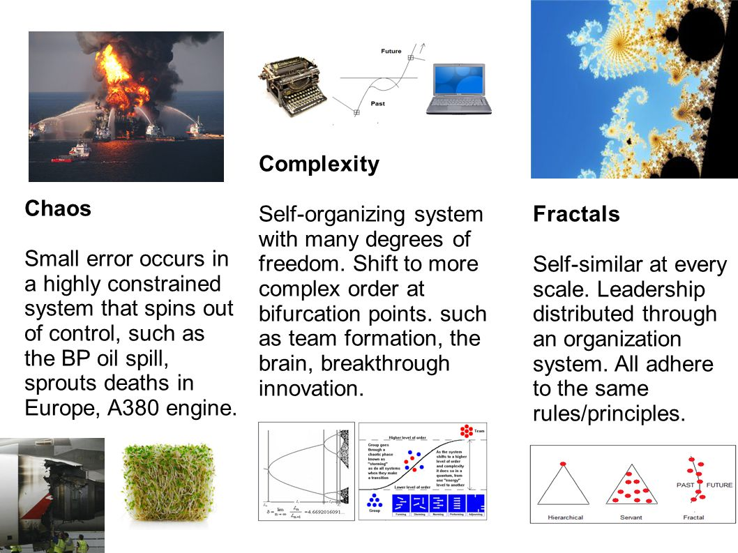 1. Fractals Self-similar at every scale. Leadership distributed through an organization system.