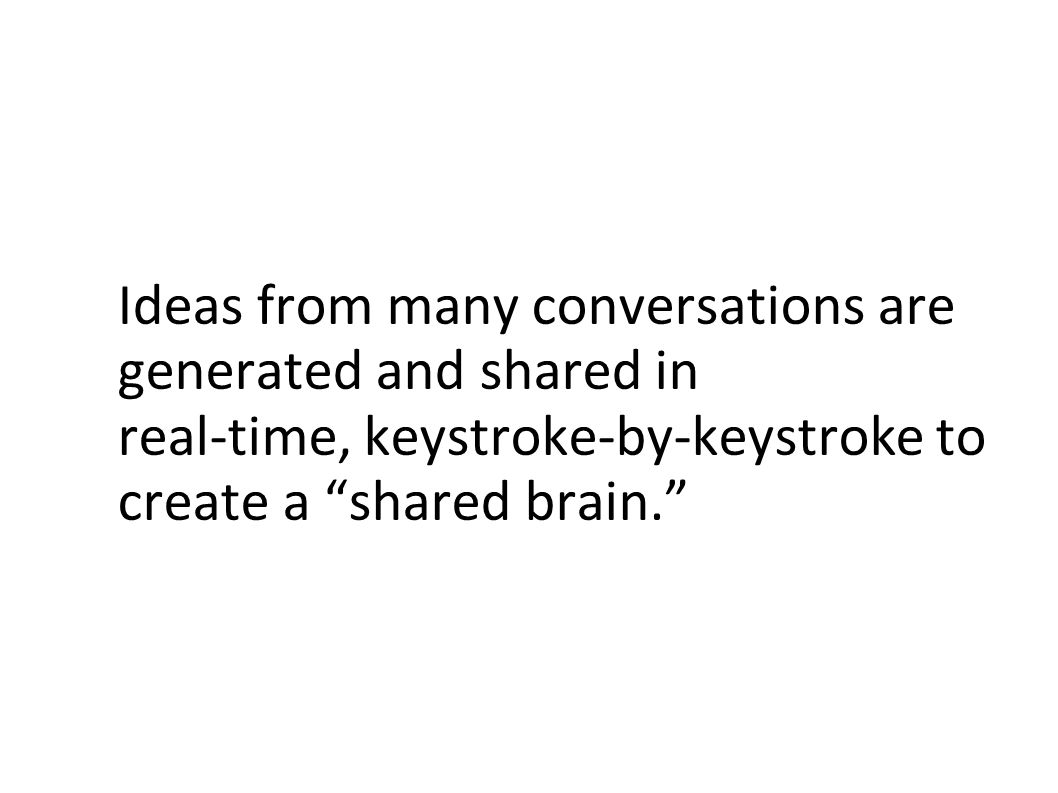 Ideas from many conversations are generated and shared in real-time, keystroke-by-keystroke to create a shared brain.