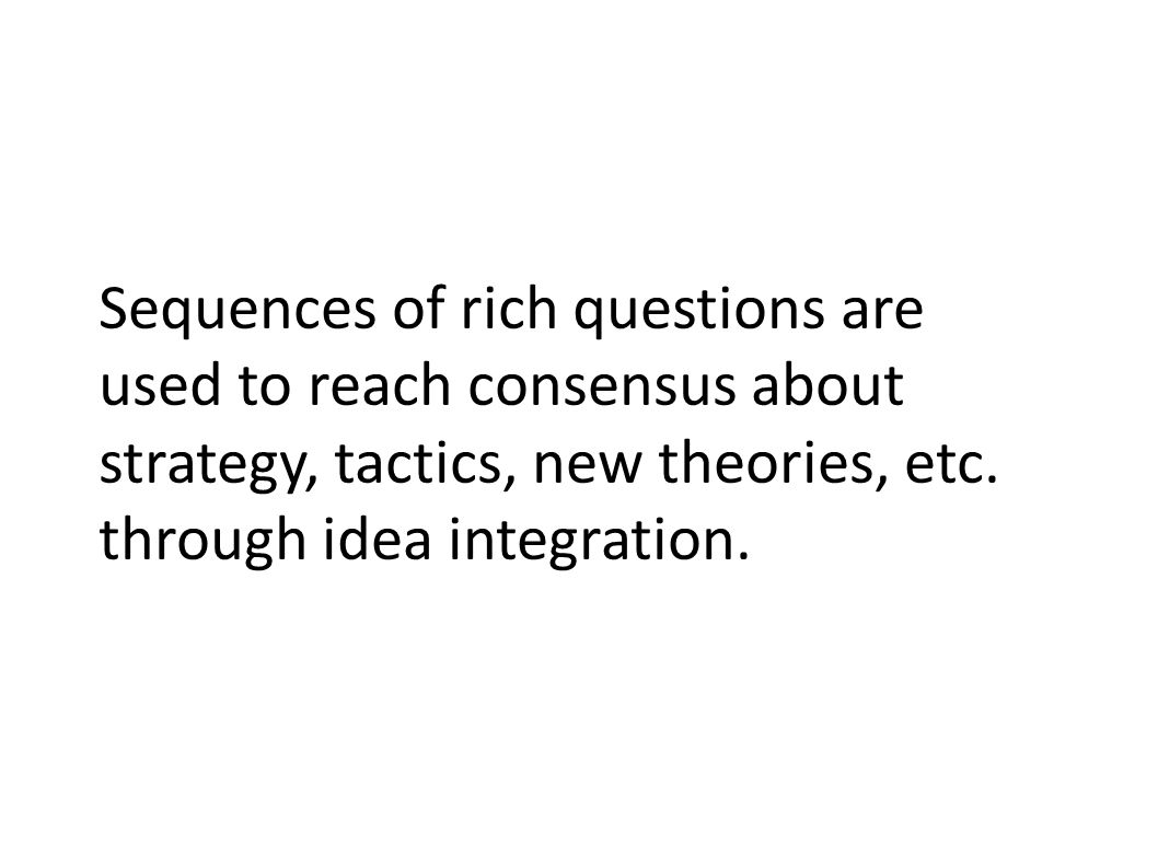 Sequences of rich questions are used to reach consensus about strategy, tactics, new theories, etc.