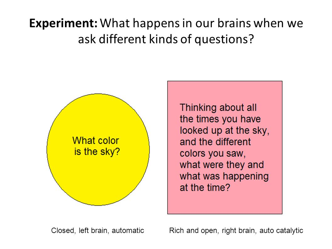 Experiment: What happens in our brains when we ask different kinds of questions.