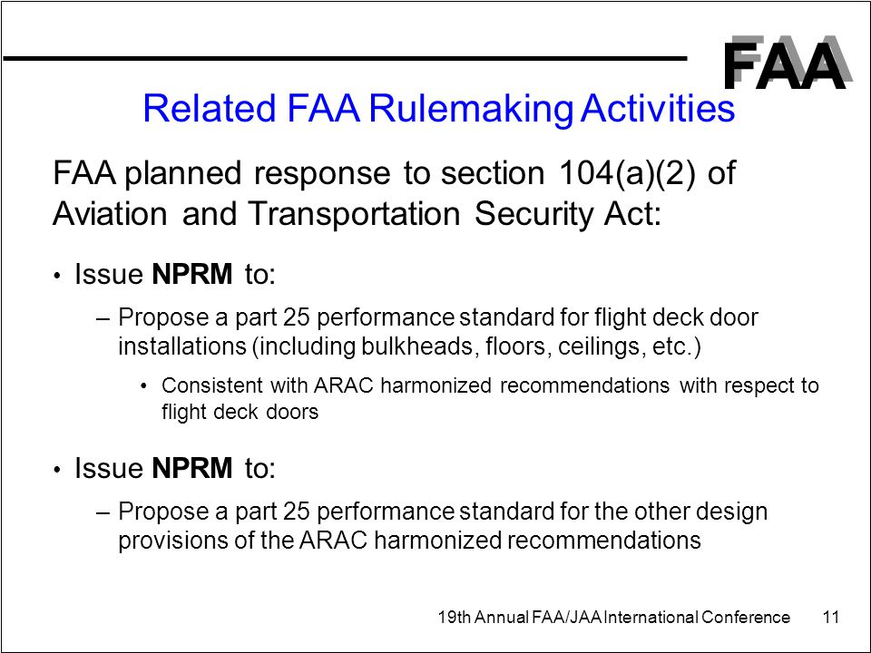 FAA 19th Annual FAA/JAA International Conference 11 Related FAA Rulemaking Activities FAA planned response to section 104(a)(2) of Aviation and Transp