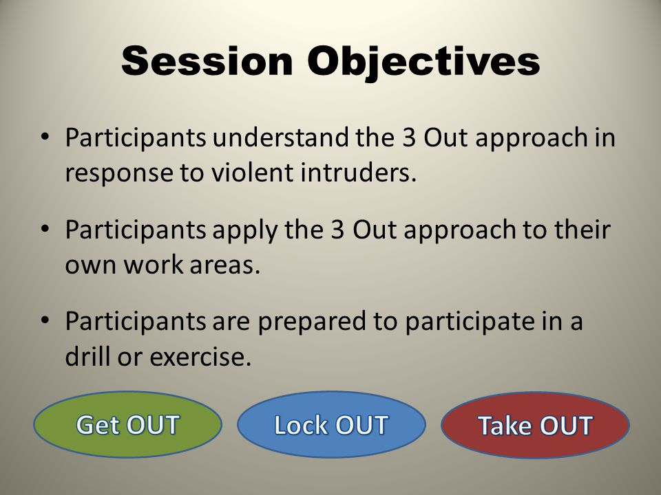 Session Objectives Participants understand the 3 Out approach in response to violent intruders.