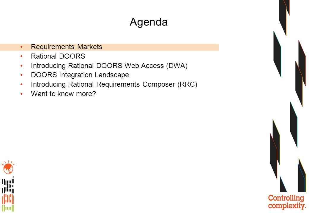 Agenda Requirements Markets Rational DOORS Introducing Rational DOORS Web Access (DWA) DOORS Integration Landscape Introducing Rational Requirements C