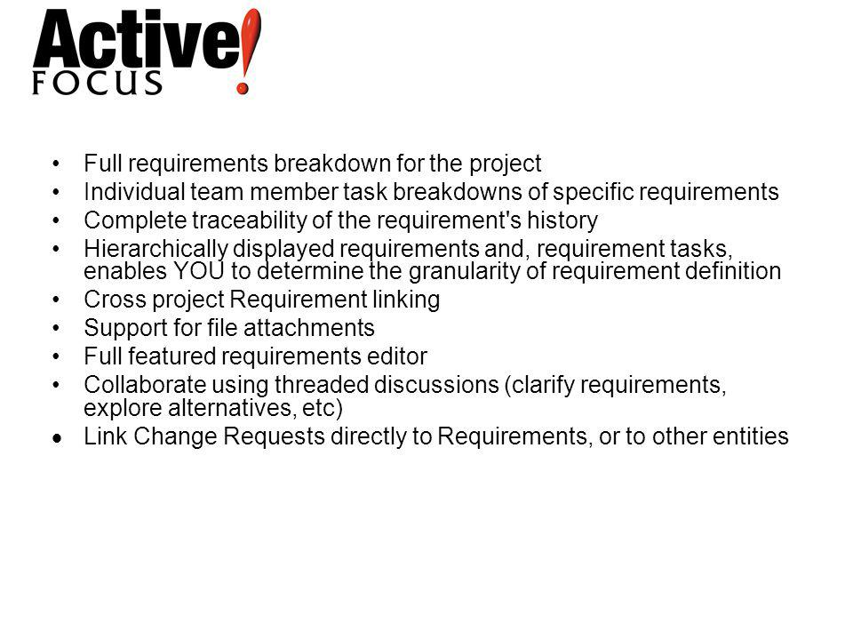 Full requirements breakdown for the project Individual team member task breakdowns of specific requirements Complete traceability of the requirement's