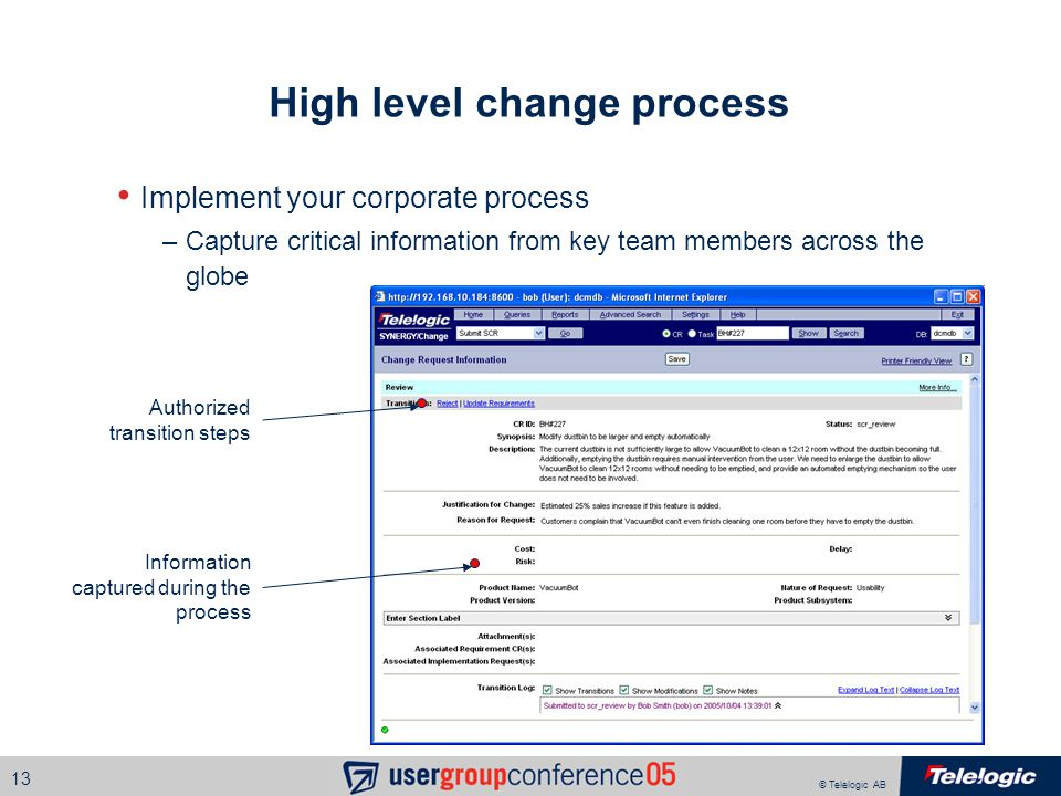 © Telelogic AB 13 High level change process Implement your corporate process –Capture critical information from key team members across the globe Info