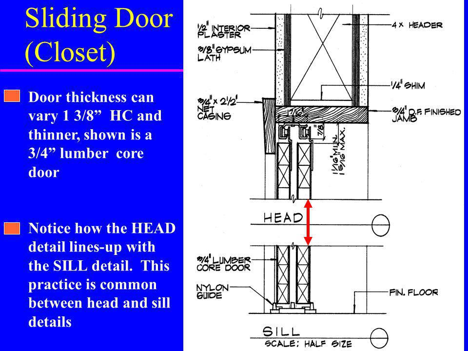 Sliding Door (Closet) Door thickness can vary 1 3/8 HC and thinner, shown is a 3/4 lumber core door Notice how the HEAD detail lines-up with the SILL