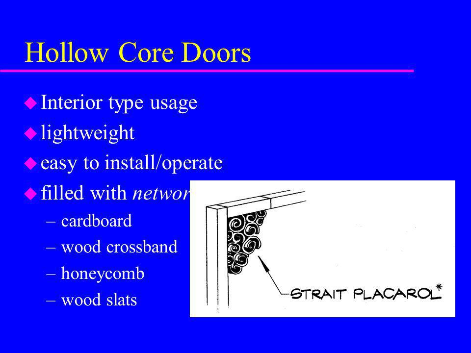 Hollow Core Doors u Interior type usage u lightweight u easy to install/operate u filled with network –cardboard –wood crossband –honeycomb –wood slat