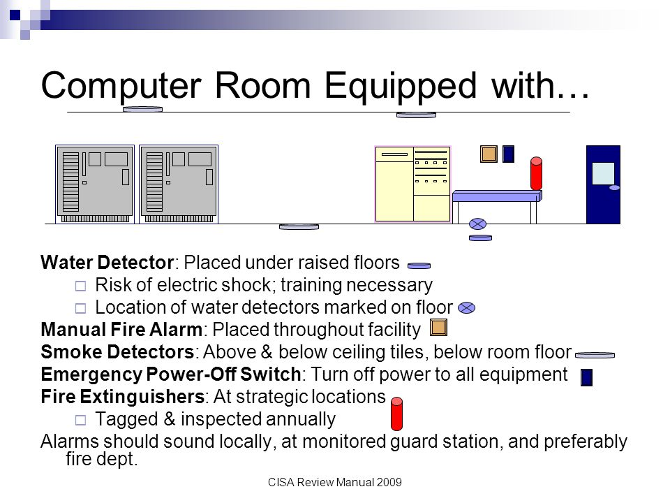 CISA Review Manual 2009 Computer Room Equipped with… Water Detector: Placed under raised floors Risk of electric shock; training necessary Location of