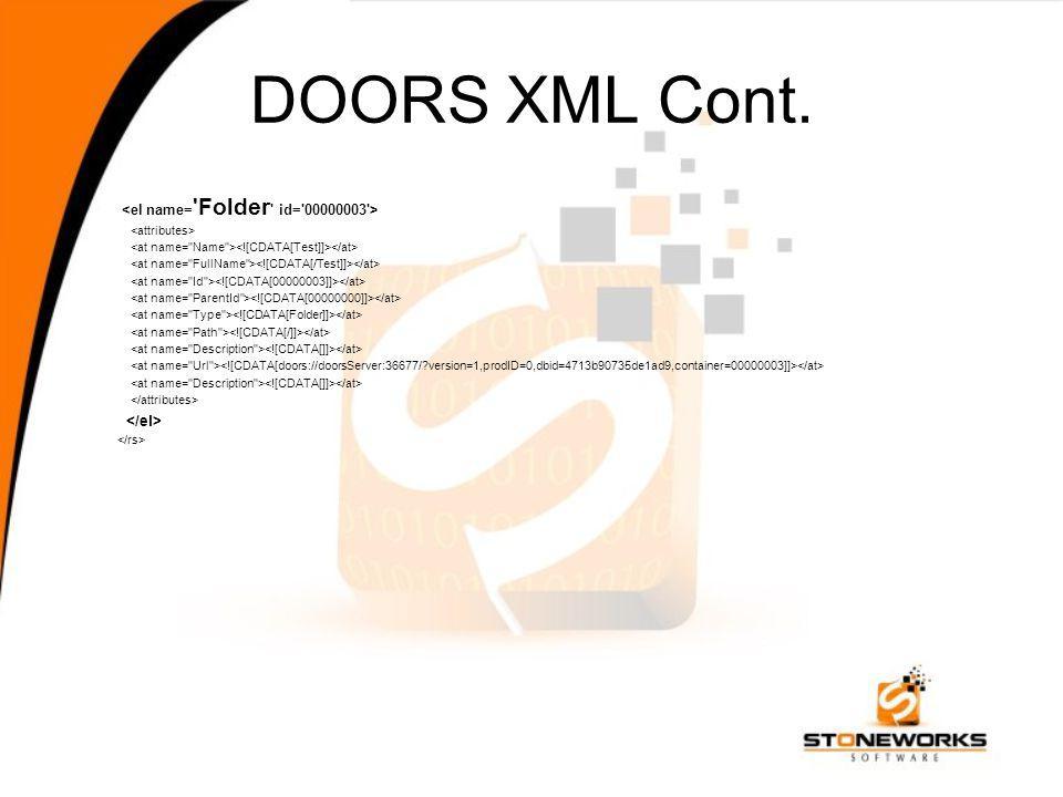 DOORS XML Cont.