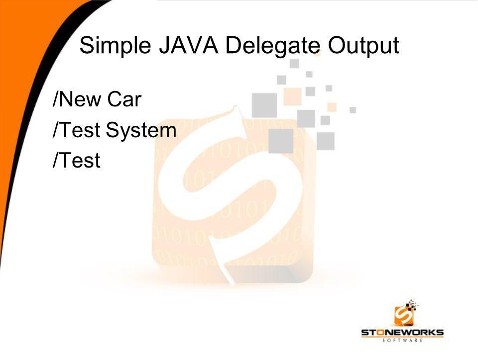 Simple JAVA Delegate Output /New Car /Test System /Test