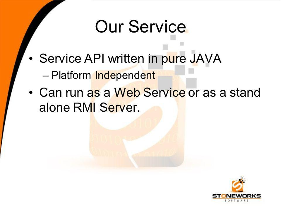 Our Service Service API written in pure JAVA –Platform Independent Can run as a Web Service or as a stand alone RMI Server.