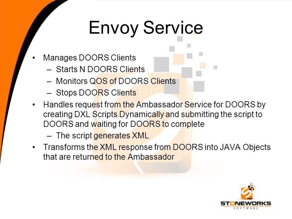 Envoy Service Manages DOORS Clients –Starts N DOORS Clients –Monitors QOS of DOORS Clients –Stops DOORS Clients Handles request from the Ambassador Service for DOORS by creating DXL Scripts Dynamically and submitting the script to DOORS and waiting for DOORS to complete –The script generates XML Transforms the XML response from DOORS into JAVA Objects that are returned to the Ambassador
