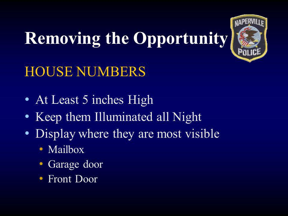 Removing the Opportunity HOUSE NUMBERS At Least 5 inches High Keep them Illuminated all Night Display where they are most visible Mailbox Garage door Front Door