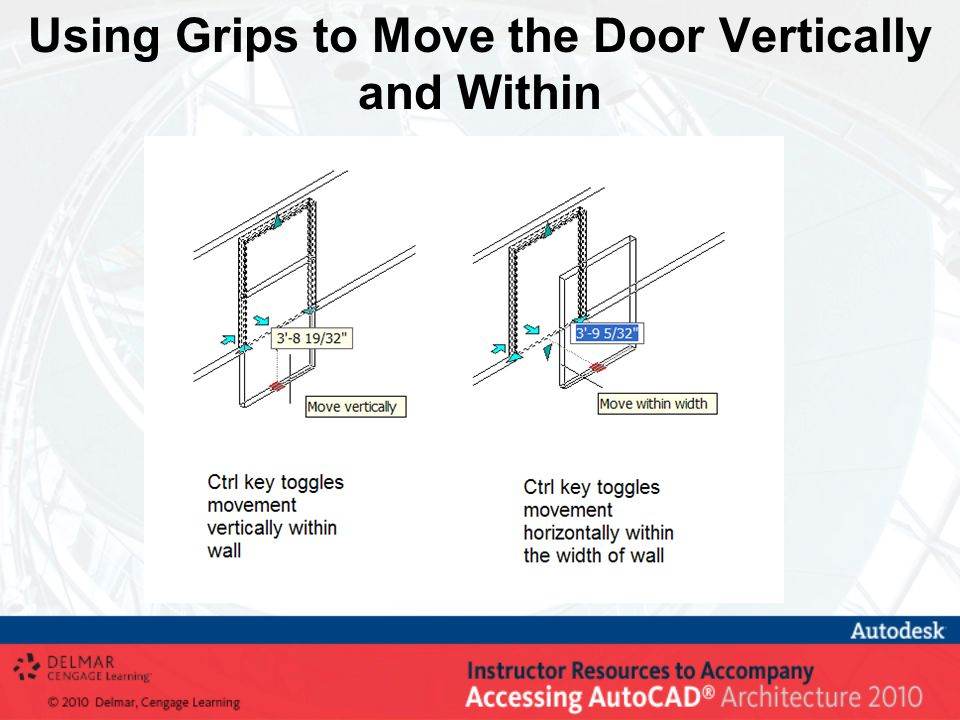 Using Grips to Move the Door Vertically and Within