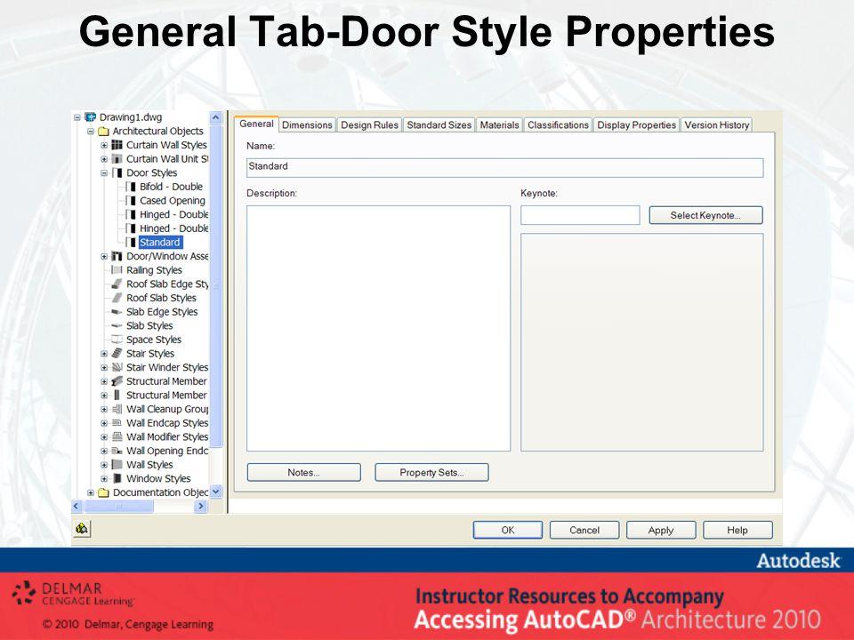 General Tab-Door Style Properties