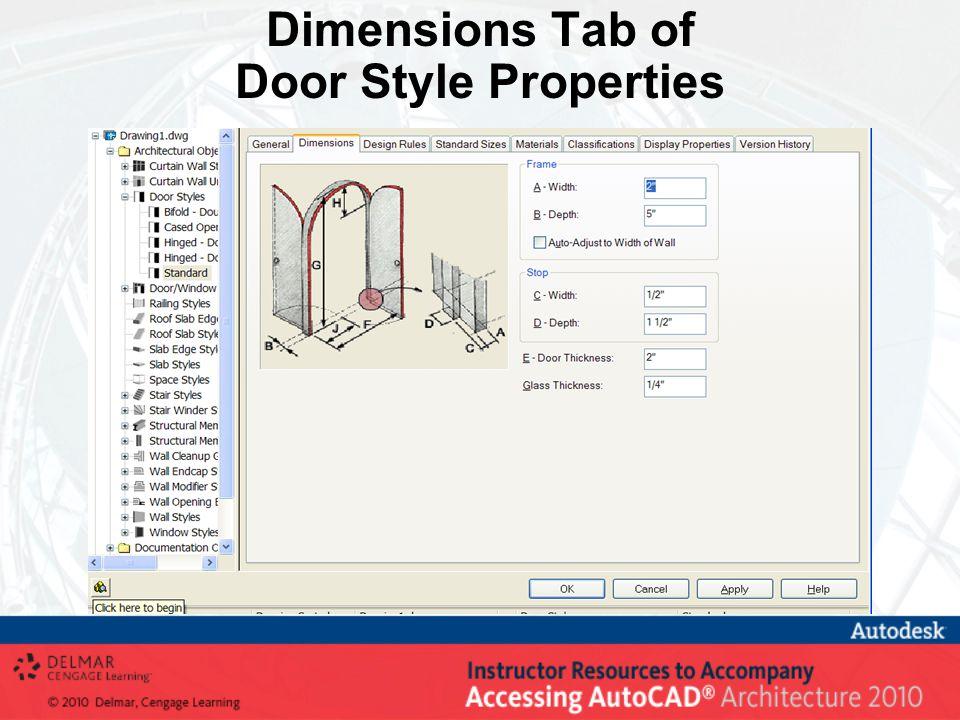 Dimensions Tab of Door Style Properties