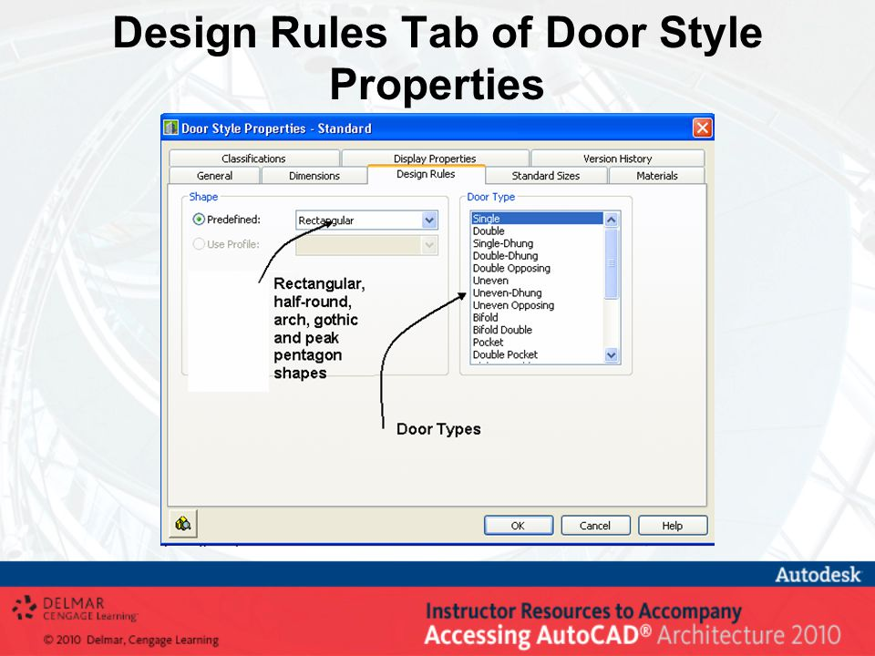 Design Rules Tab of Door Style Properties