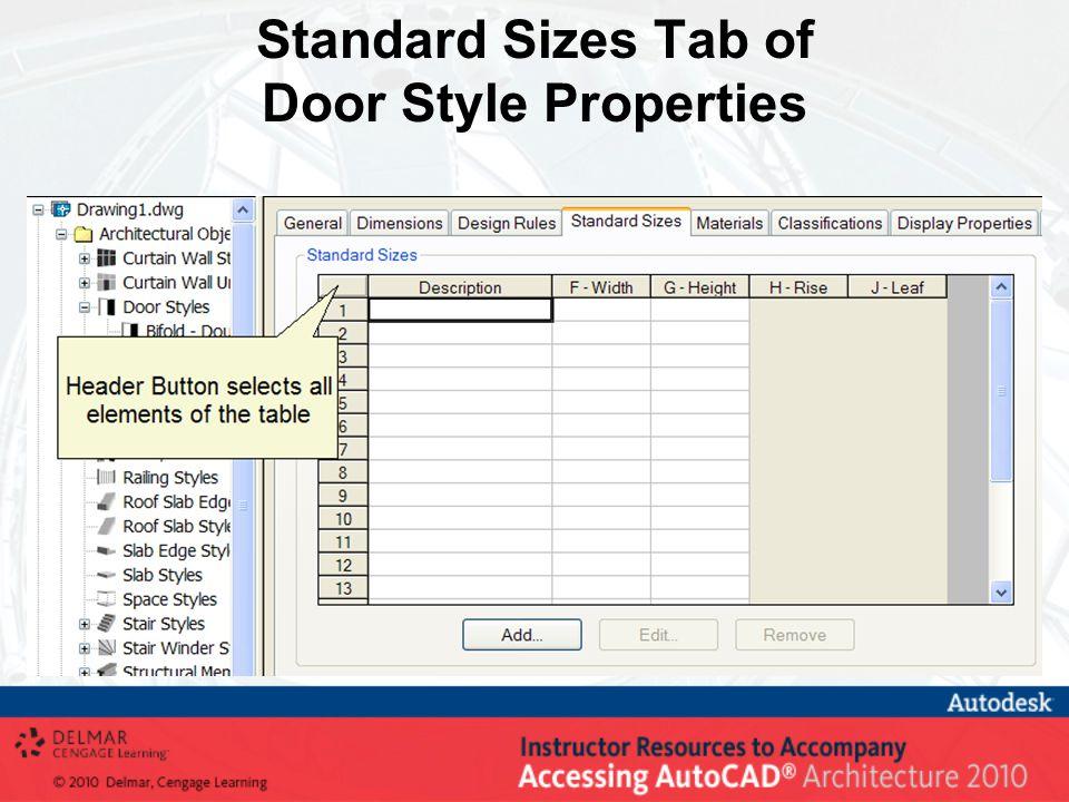 Standard Sizes Tab of Door Style Properties