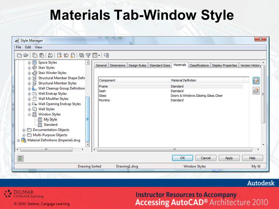 Materials Tab-Window Style