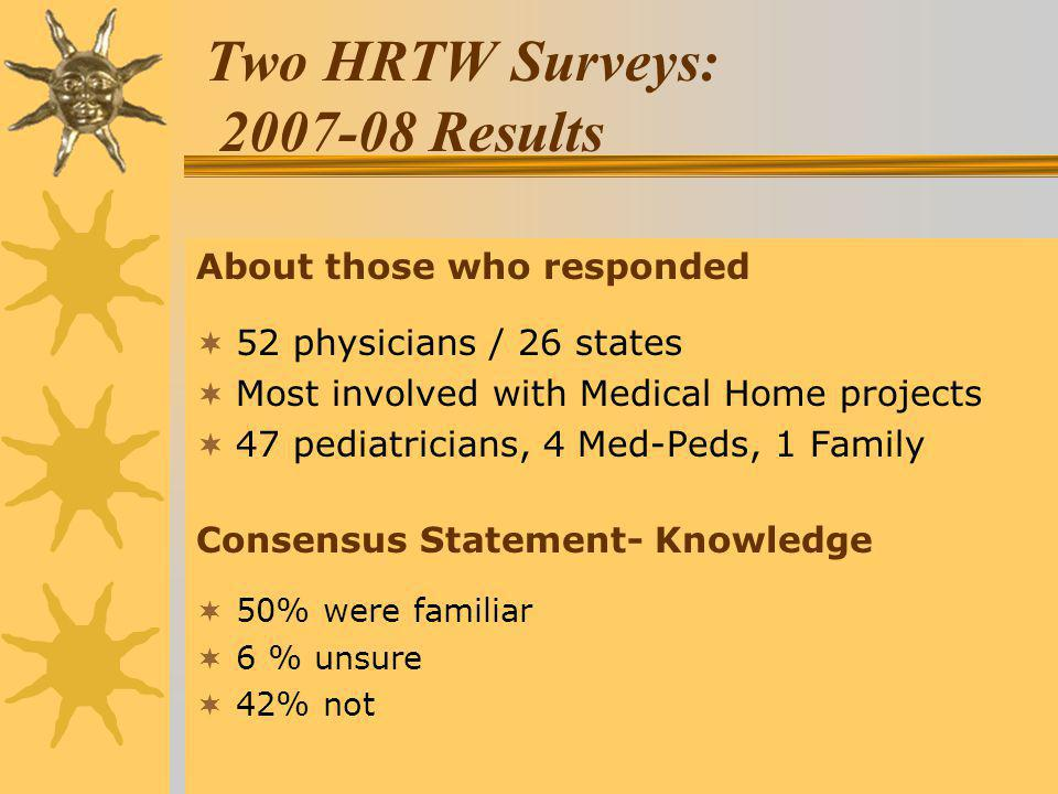 Two HRTW Surveys: 2007-08 Results About those who responded 52 physicians / 26 states Most involved with Medical Home projects 47 pediatricians, 4 Med-Peds, 1 Family Consensus Statement- Knowledge 50% were familiar 6 % unsure 42% not