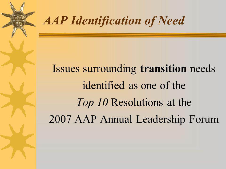 AAP Identification of Need Issues surrounding transition needs identified as one of the Top 10 Resolutions at the 2007 AAP Annual Leadership Forum