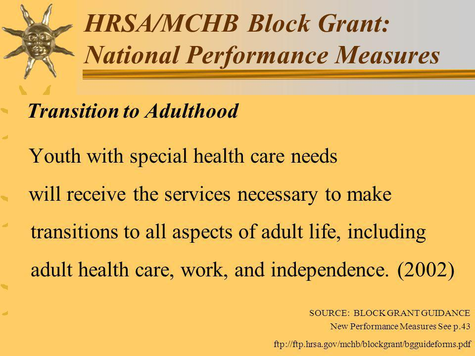 HRSA/MCHB Block Grant: National Performance Measures Transition to Adulthood Youth with special health care needs will receive the services necessary to make transitions to all aspects of adult life, including adult health care, work, and independence.