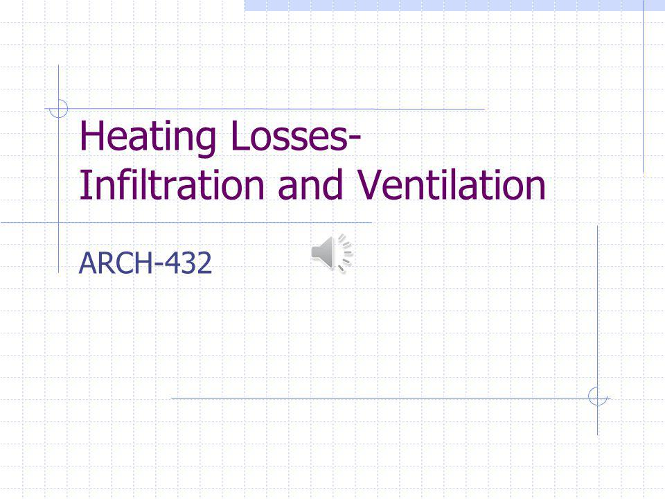 Heating Losses- Infiltration and Ventilation ARCH-432