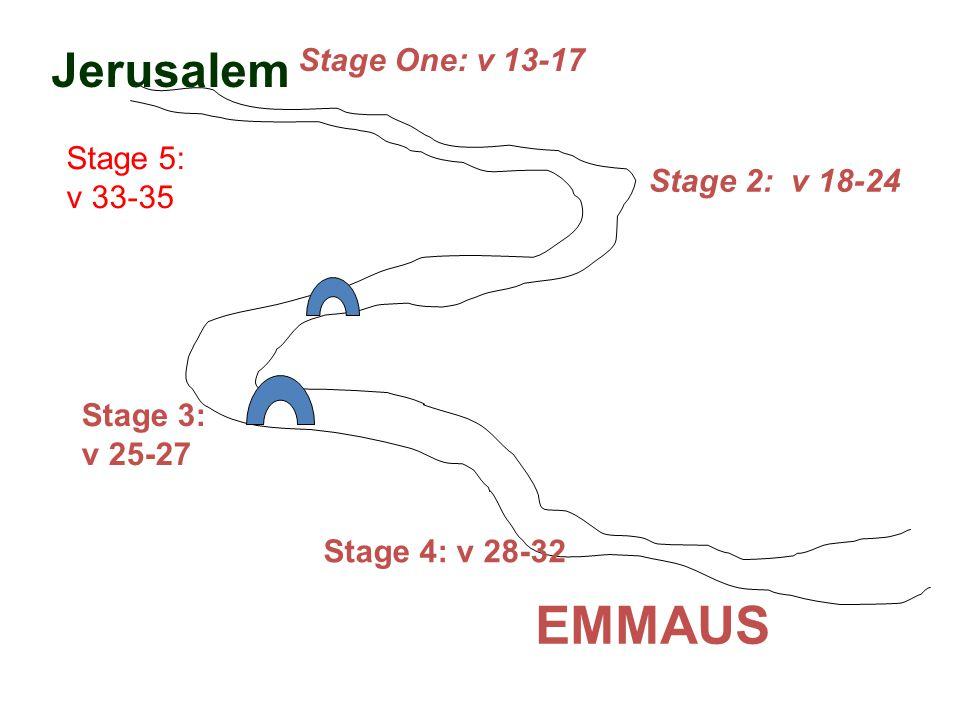 Jerusalem Stage One: v 13-17 Stage 2: v 18-24 Stage 3: v 25-27 Stage 4: v 28-32 EMMAUS Stage 5: v 33-35
