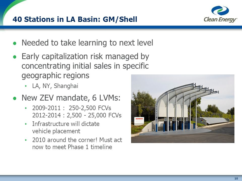 10 40 Stations in LA Basin: GM/Shell Needed to take learning to next level Early capitalization risk managed by concentrating initial sales in specific geographic regions LA, NY, Shanghai New ZEV mandate, 6 LVMs: 2009-2011 : 250-2,500 FCVs 2012-2014 : 2,500 - 25,000 FCVs Infrastructure will dictate vehicle placement 2010 around the corner.