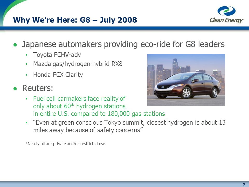 5 Why Were Here: G8 – July 2008 Japanese automakers providing eco-ride for G8 leaders Toyota FCHV-adv Mazda gas/hydrogen hybrid RX8 Honda FCX Clarity Reuters: Fuel cell carmakers face reality of only about 60* hydrogen stations in entire U.S.