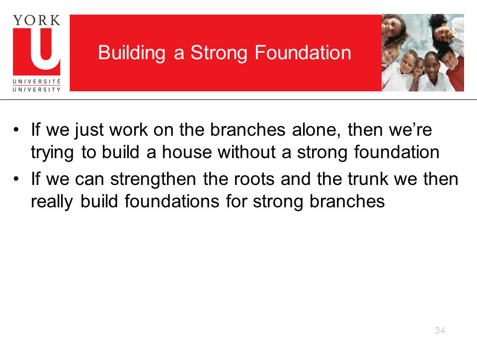Building a Strong Foundation If we just work on the branches alone, then were trying to build a house without a strong foundation If we can strengthen the roots and the trunk we then really build foundations for strong branches 34