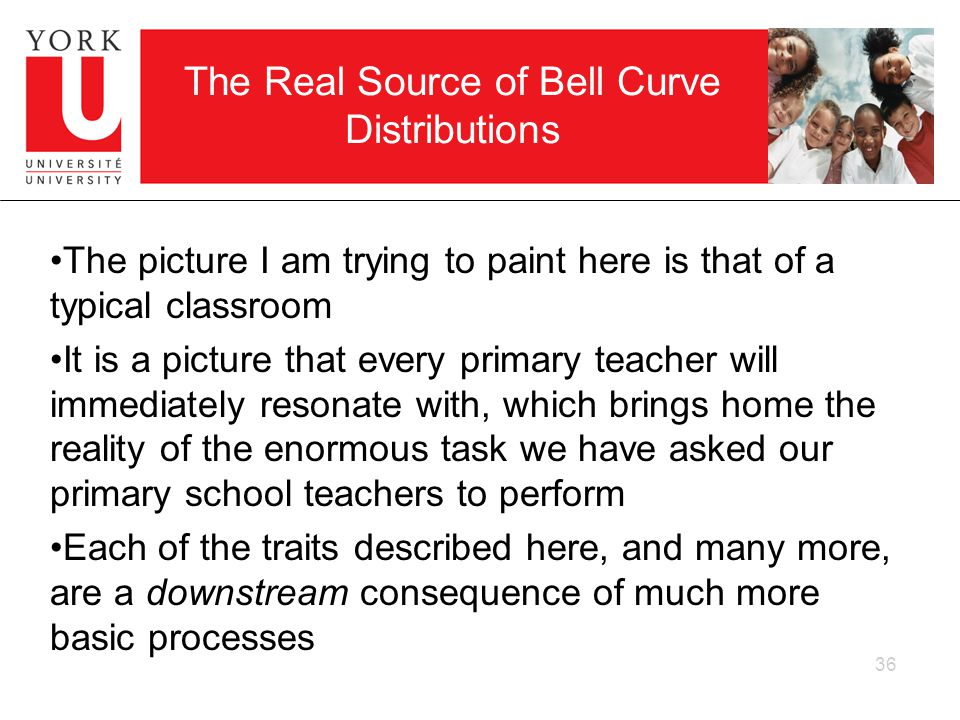 36 The Real Source of Bell Curve Distributions The picture I am trying to paint here is that of a typical classroom It is a picture that every primary teacher will immediately resonate with, which brings home the reality of the enormous task we have asked our primary school teachers to perform Each of the traits described here, and many more, are a downstream consequence of much more basic processes