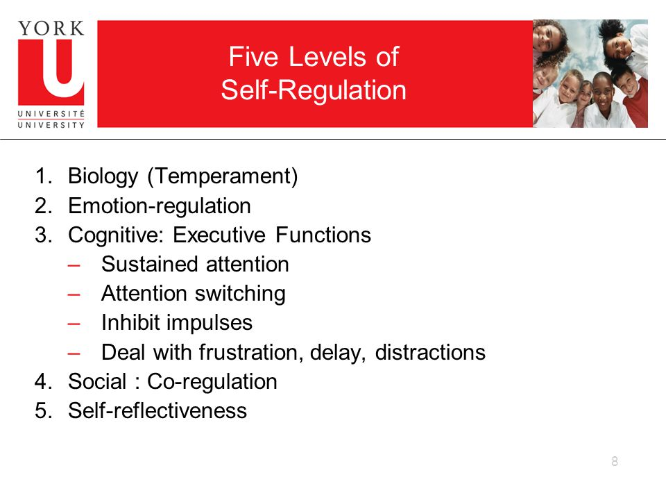 8 Five Levels of Self-Regulation 1.Biology (Temperament) 2.Emotion-regulation 3.Cognitive: Executive Functions –Sustained attention –Attention switching –Inhibit impulses –Deal with frustration, delay, distractions 4.Social : Co-regulation 5.Self-reflectiveness