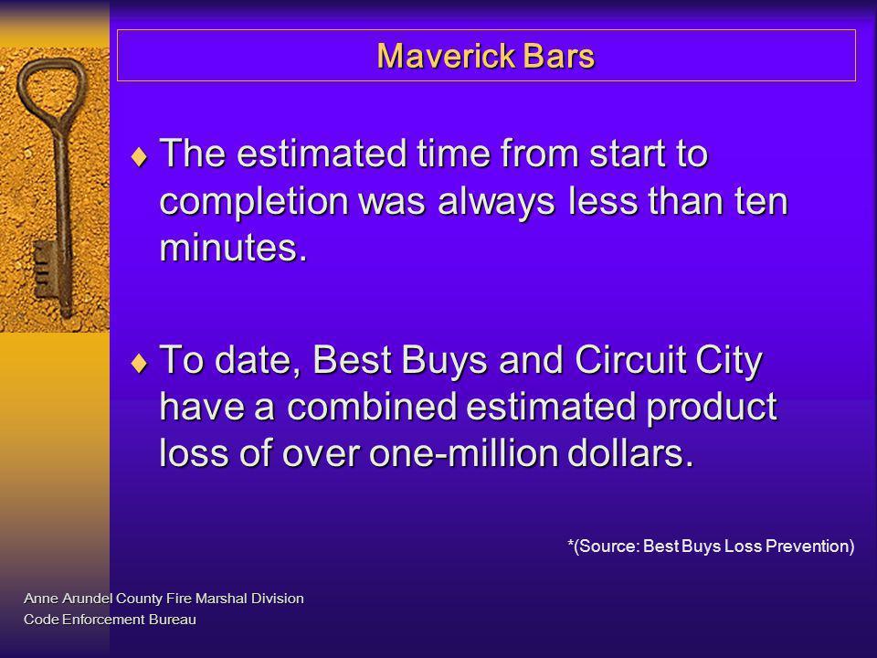 Maverick Bars Anne Arundel County Fire Marshal Division Code Enforcement Bureau Bars stored inside locked room.