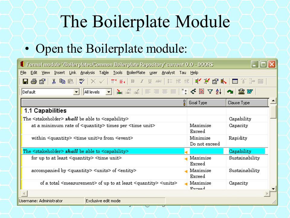 © Jeremy.Dick@telelogic.com The Boilerplate Module Open the Boilerplate module: