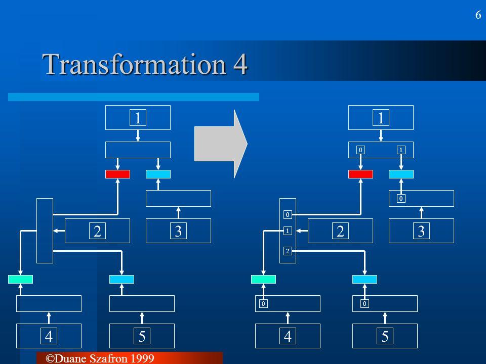 ©Duane Szafron 1999 7 Transformation 5 01 0 00 0 1 2 12345 01 0 00 0 1 2 1 numberdoors 3 numberdoors 2 numberdoors 5 numberdoors 4 numberdoors