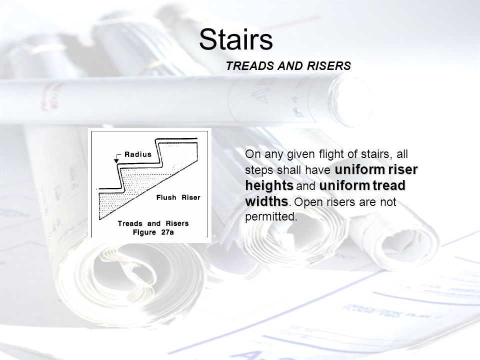 Stairs uniform riser heightsuniform tread widths On any given flight of stairs, all steps shall have uniform riser heights and uniform tread widths.