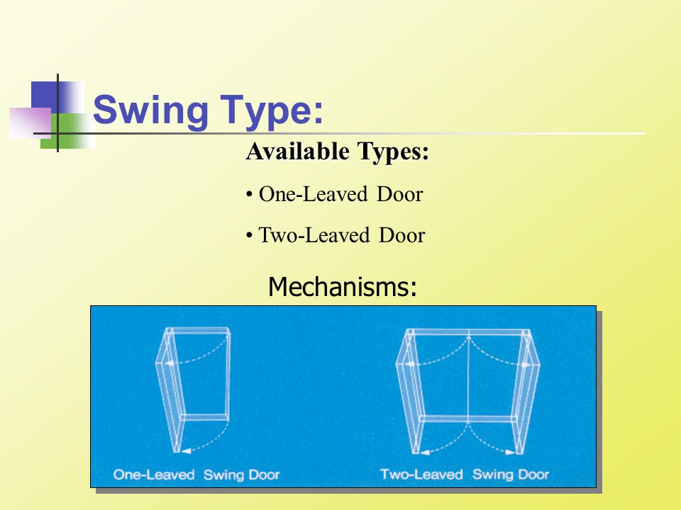 Swing Type: Available Types: One-Leaved Door Two-Leaved Door Mechanisms: