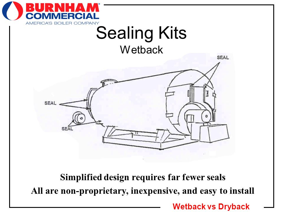 19 Wetback vs Dryback Simplified design requires far fewer seals All are non-proprietary, inexpensive, and easy to install Sealing Kits Wetback