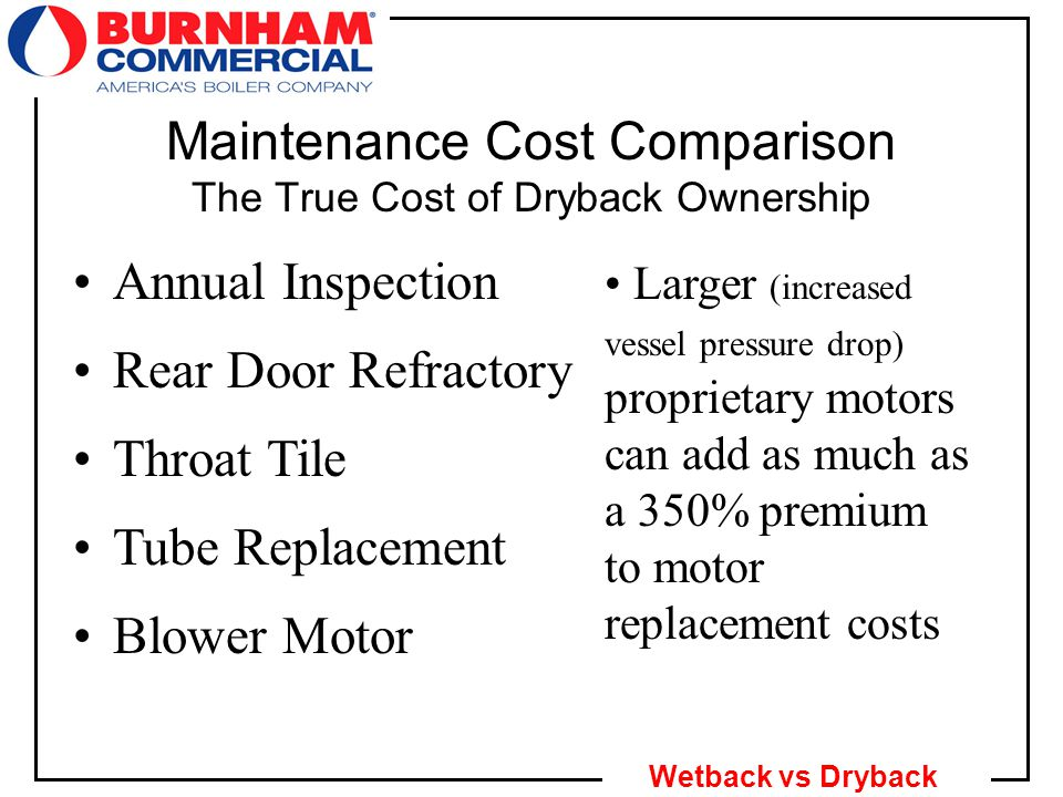 22 Wetback vs Dryback Maintenance Cost Comparison The True Cost of Dryback Ownership Annual Inspection Proprietary sealing kits and more labor to open & close the boiler amount to a 100% premium over costs for a comparable wetback Rear Door Refractory Throat Tile Tube Replacement Blower Motor No refractory costs for a wetback vs.