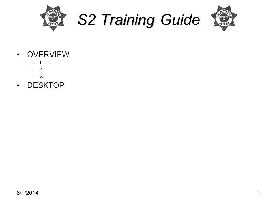 6/1/20141 Training S2 Training Guide OVERVIEW –1. …. –2. –3. DESKTOP