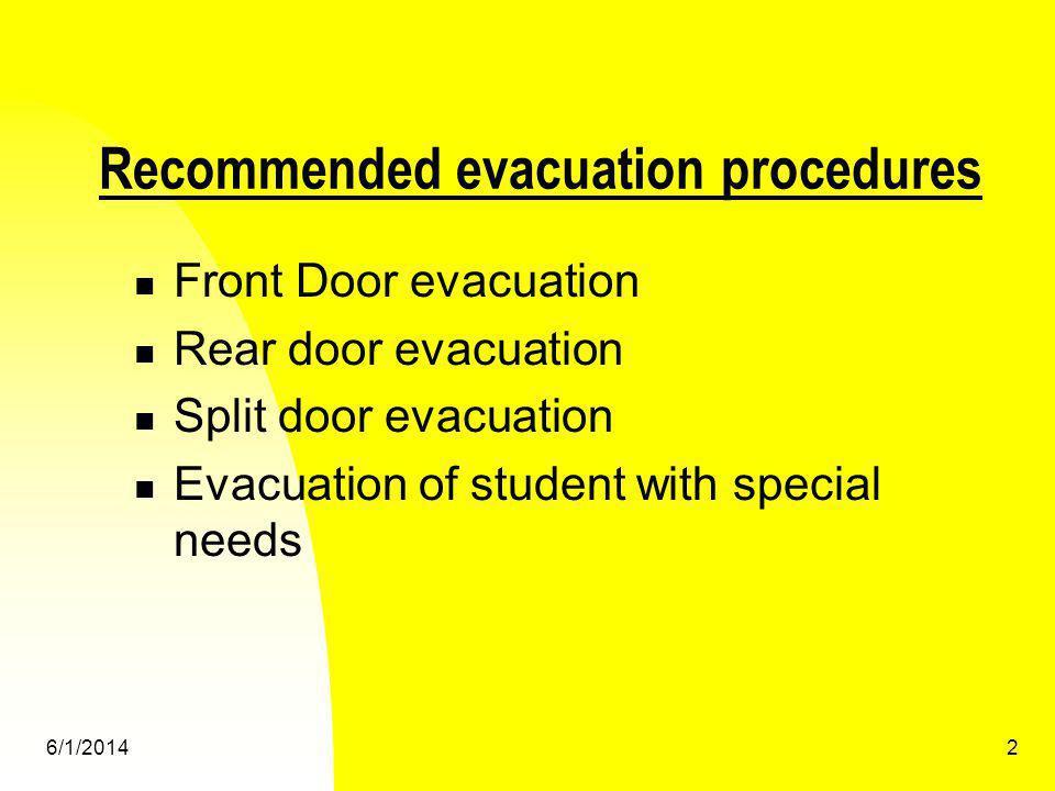 6/1/20143 Front Door Evacuation Driver designated helper must take position outside the door.