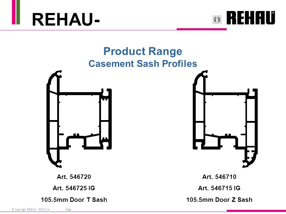 © Copyright REHAU - PIM013e - - Page REHAU- Product Range Casement Sash Profiles Art. 546720 Art. 546725 IG 105.5mm Door T Sash Art. 546710 Art. 54671