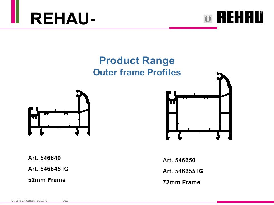 © Copyright REHAU - PIM013e - - Page Product Range Outer frame Profiles Art.