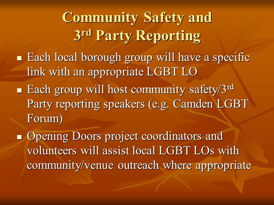 Community Safety and 3 rd Party Reporting Each local borough group will have a specific link with an appropriate LGBT LO Each local borough group will have a specific link with an appropriate LGBT LO Each group will host community safety/3 rd Party reporting speakers (e.g.