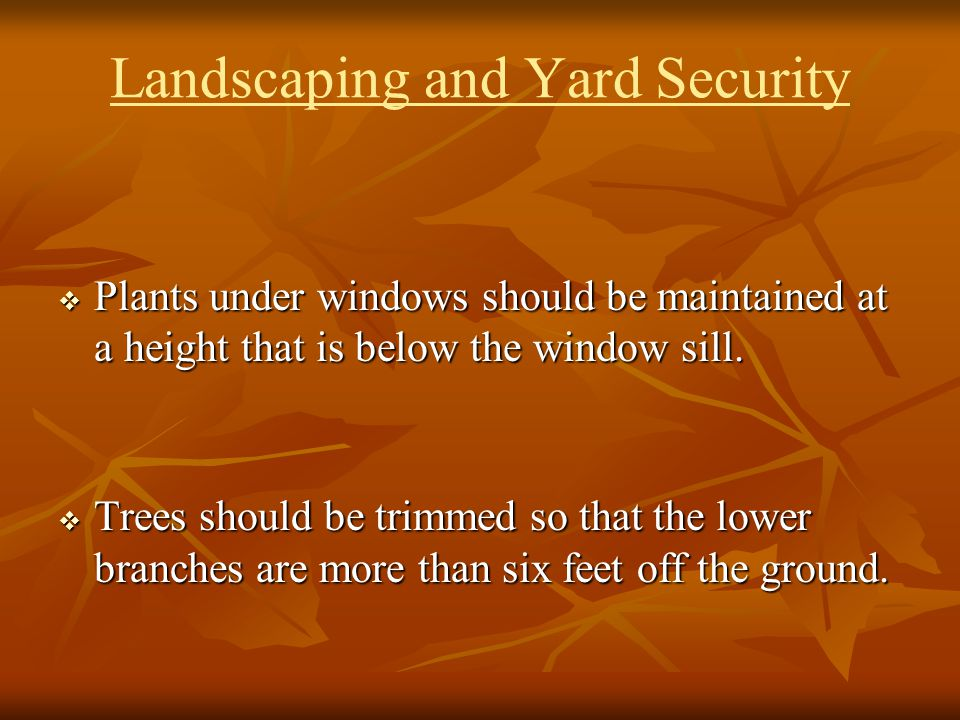 Landscaping and Yard Security Plants under windows should be maintained at a height that is below the window sill. Plants under windows should be main