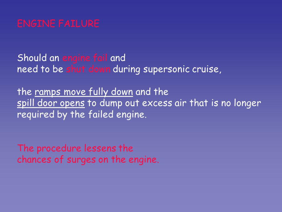ENGINE FAILURE Should an engine fail and need to be shut down during supersonic cruise, the ramps move fully down and the spill door opens to dump out